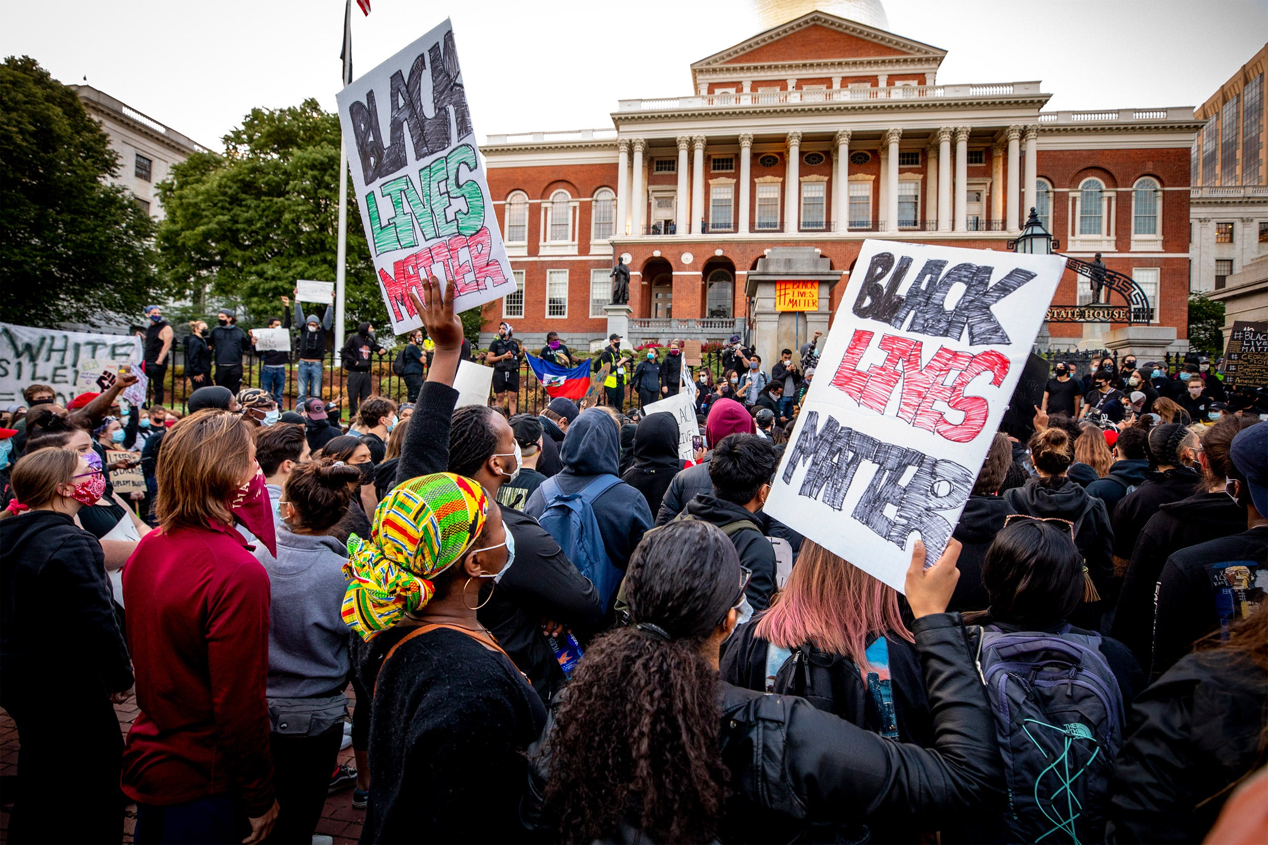 Protest at State House in Boston.