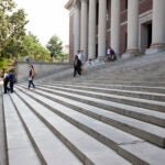 The steps of Widener Library at Harvard University.