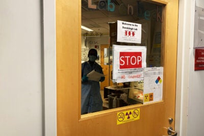 Researcher viewed through lab door posted with safety signs.
