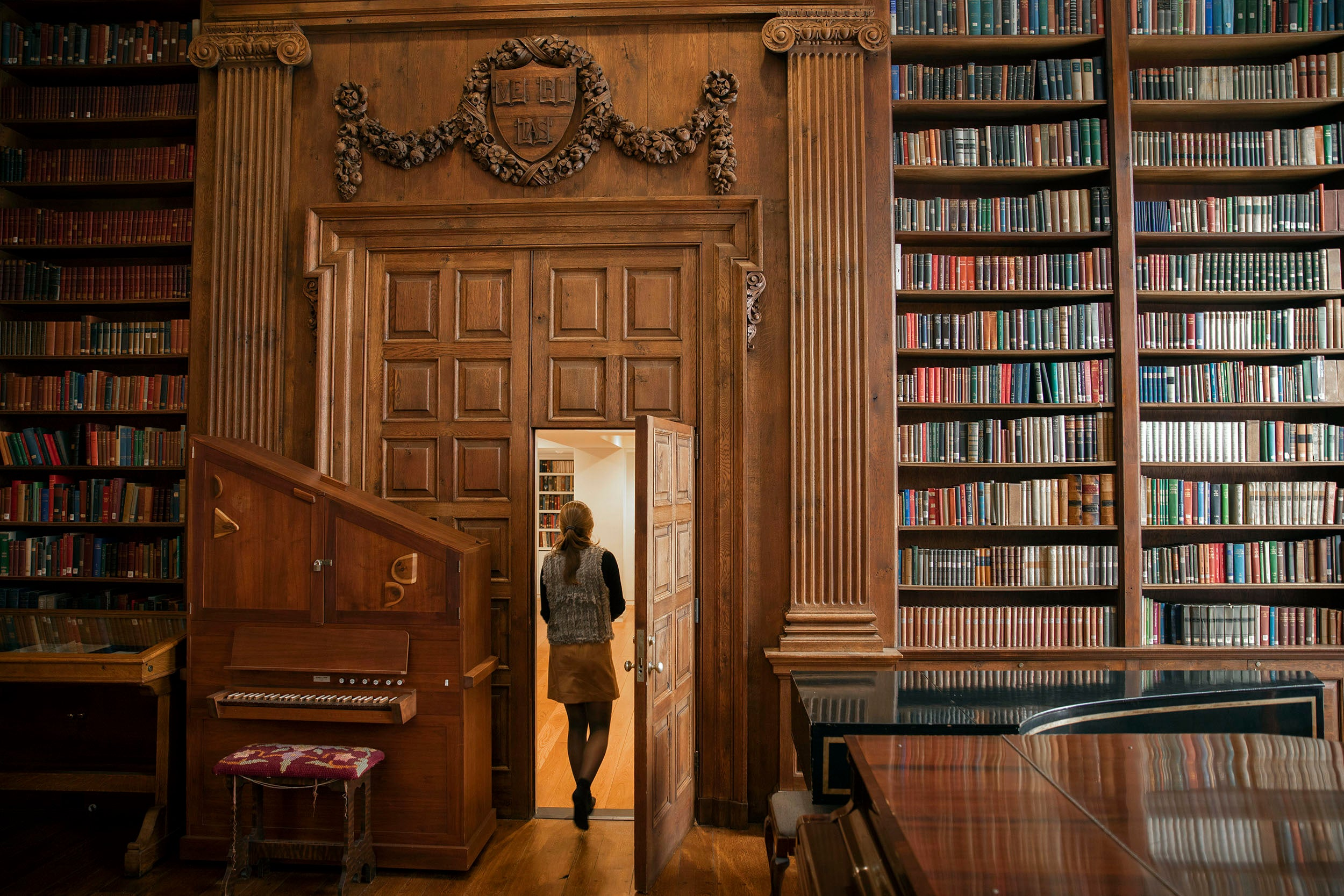 The Dunster House library features a rainbow of classics on its bookshelves, framing a student during Winter Reading Period.