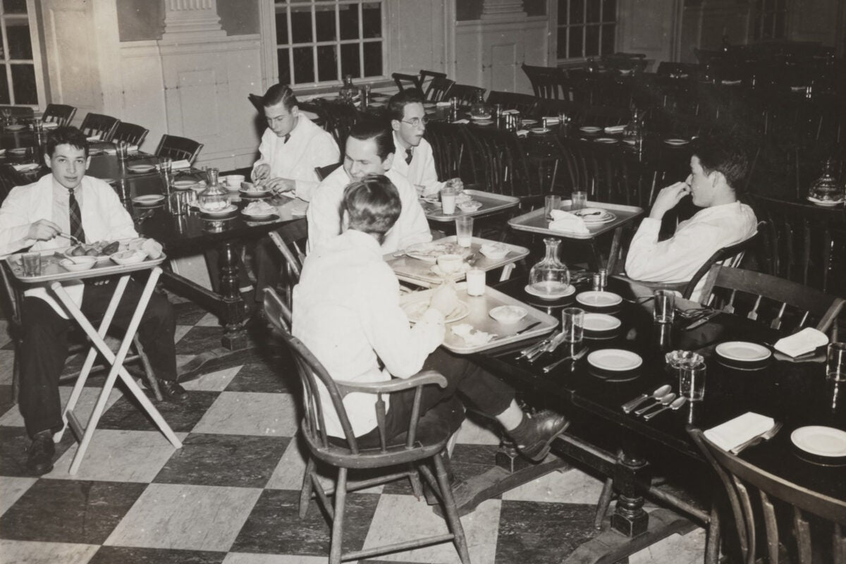 Student waiters in Lowell House dining room. 1943