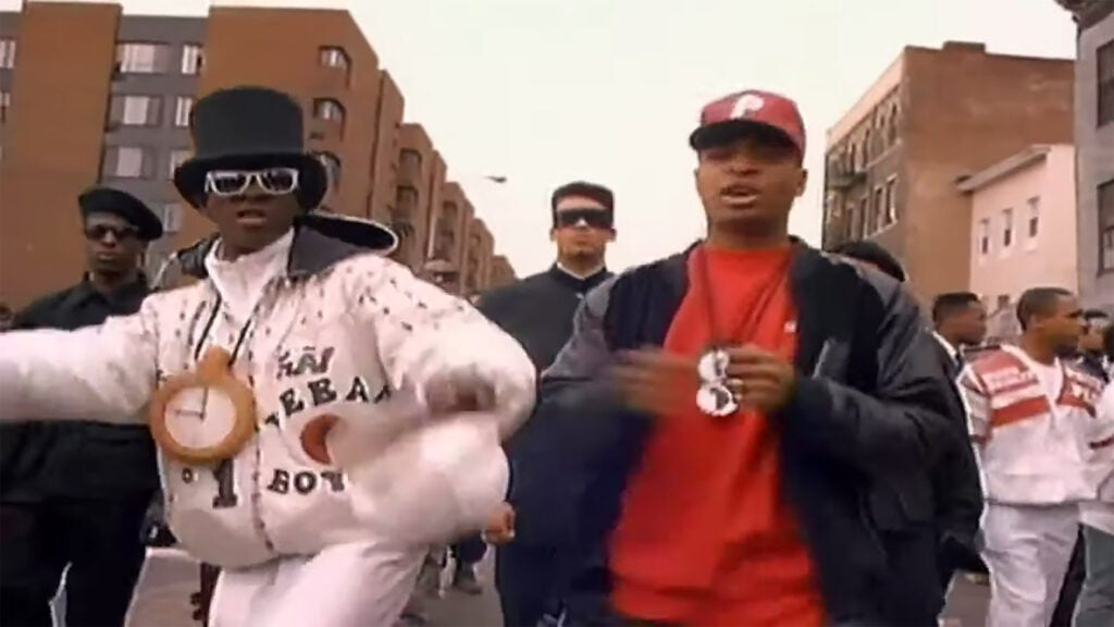"Chuck D and Flavor Flav march in Public Enemy's ""Fight the Power"" video."