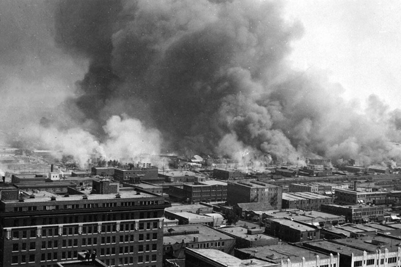 Tulsa buildings on fire.