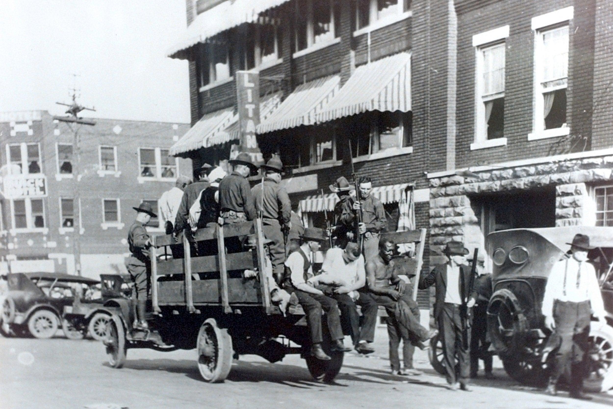 Tulsa resident being taken to the Brady Theater.