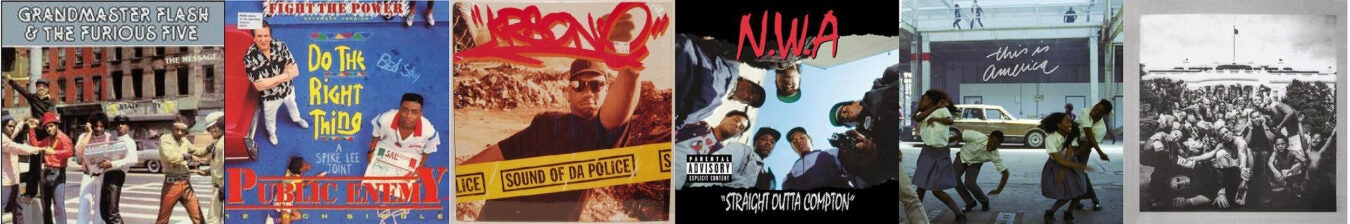 Hip-hop record covers.