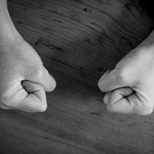 Clenched fists.