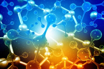 Abstract molecule network background.