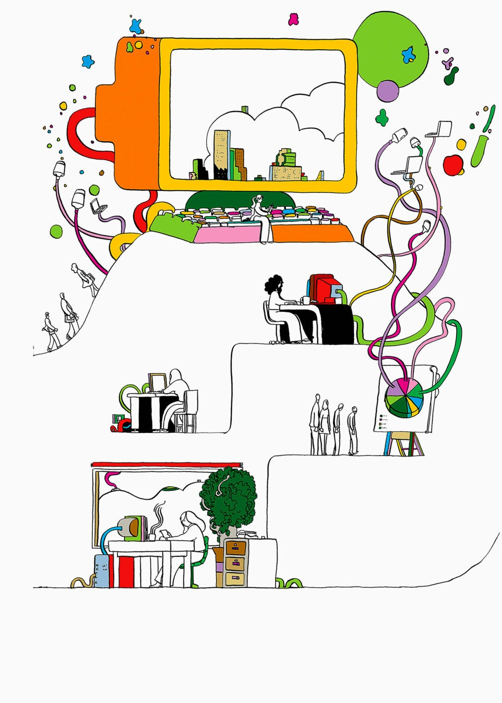 Illustration of students connecting virtually to larger network.