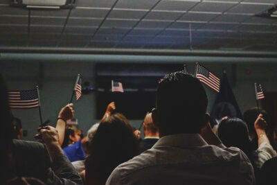 People waving flags.