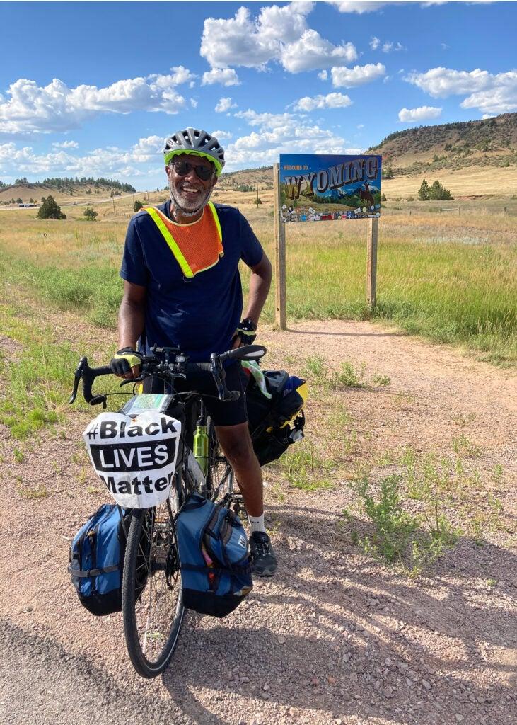 Scott Edwards on bike entering Wyoming.