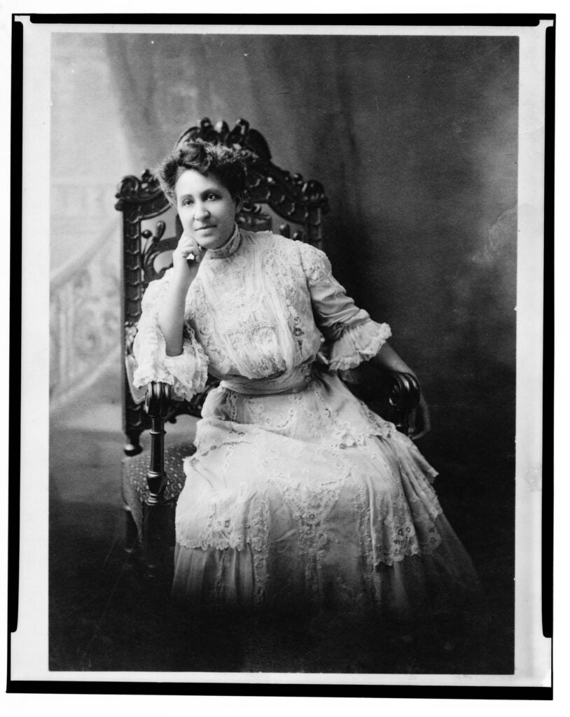 A suffrage postcard featured as part of the project; and a portrait of Mary Church Terrell the first president of the National Association of Colored Women, launched in 1896 to fight for the vote and for civil rights. Courtesy of Barbara F. Lee of Cambridge, Mass.; courtesy of the Library of Congress Prints and Photographs Division