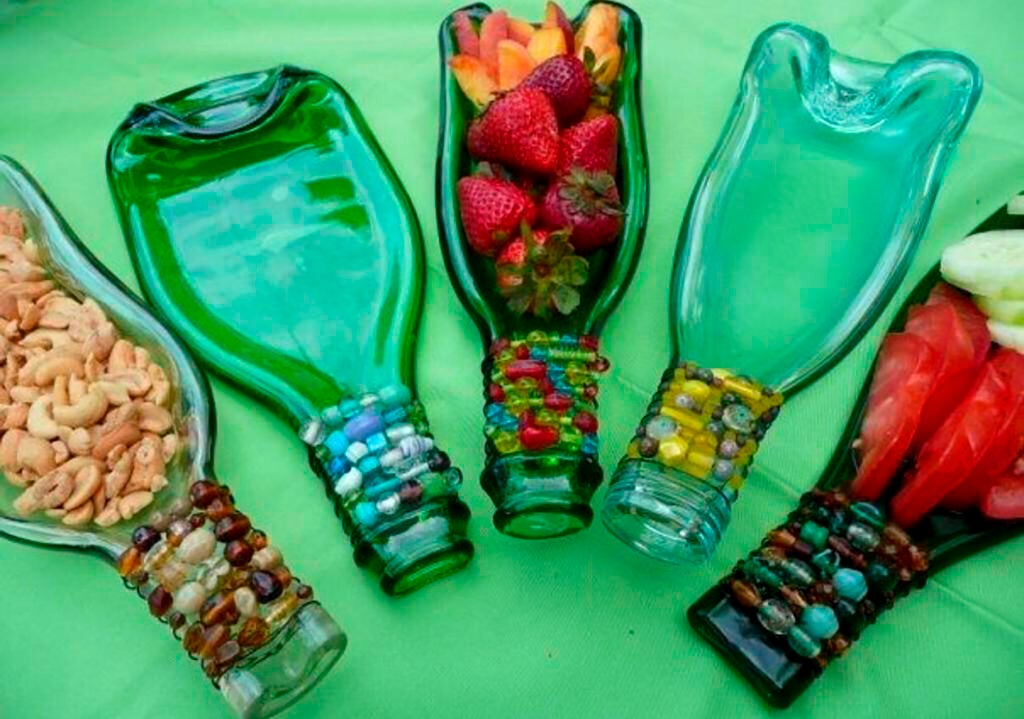 Recycled glass bottles.