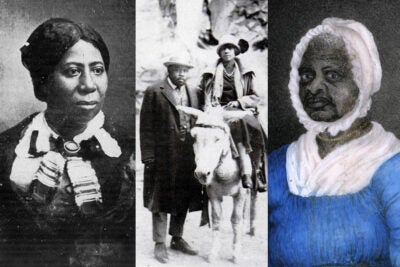 Anna Murray-Douglass (from left), Marcus Garvey with Amy Jacques Garvey, and Elizabeth Freeman.