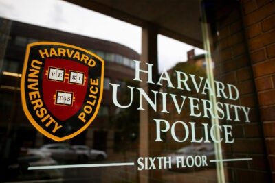 Harvard University Police Department sign.