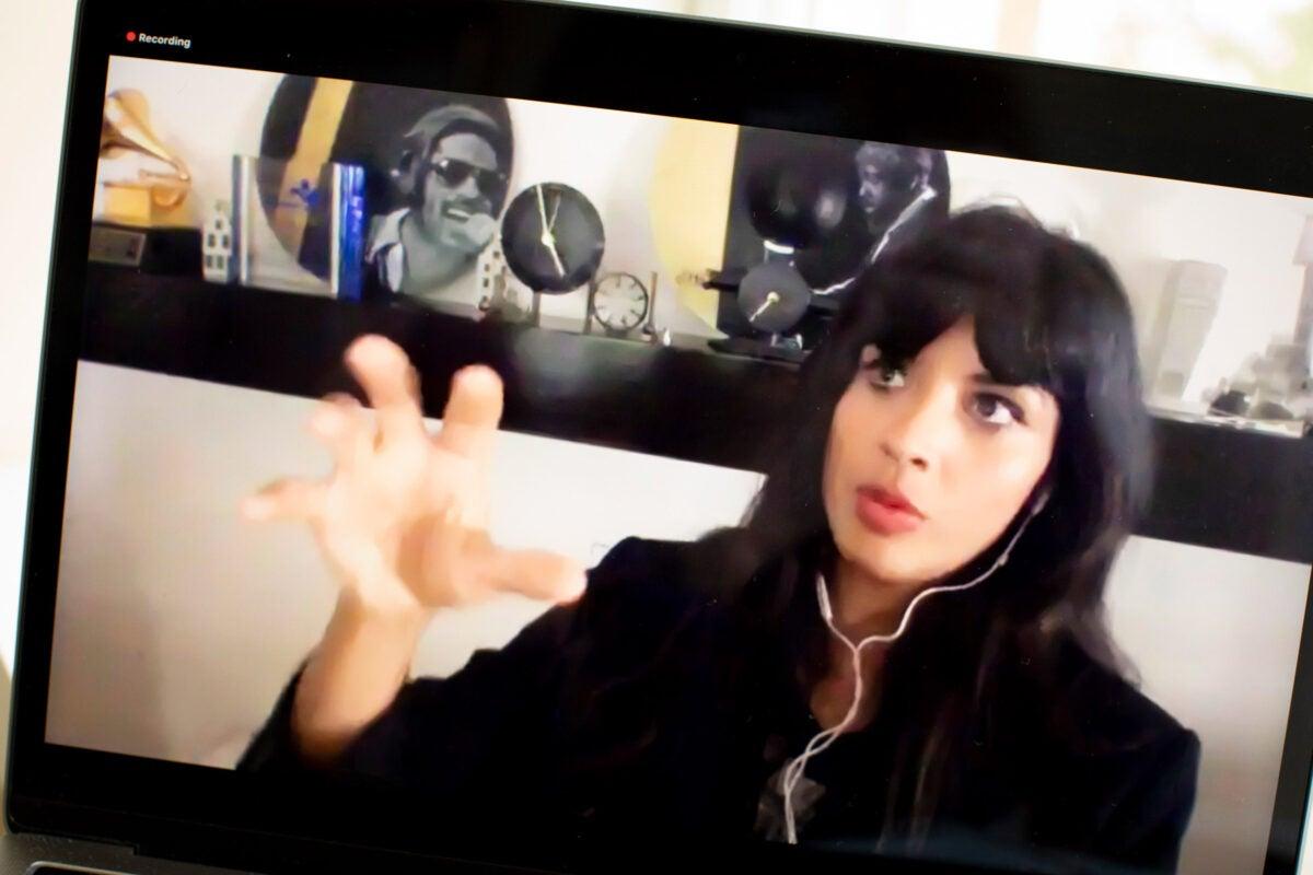 Jameela Jamil on Zoom.