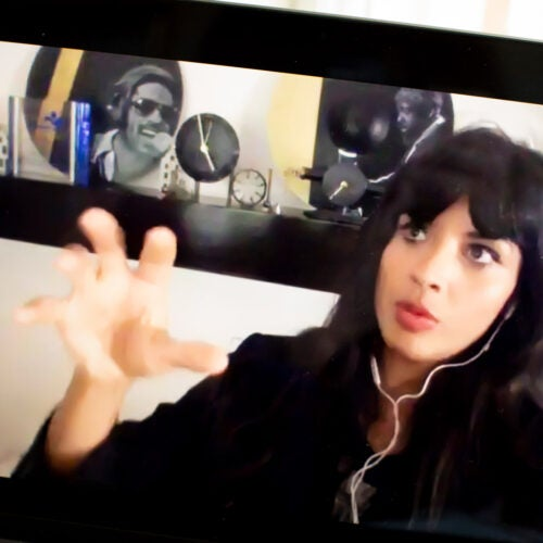 Jameela Jamil on Zoom.