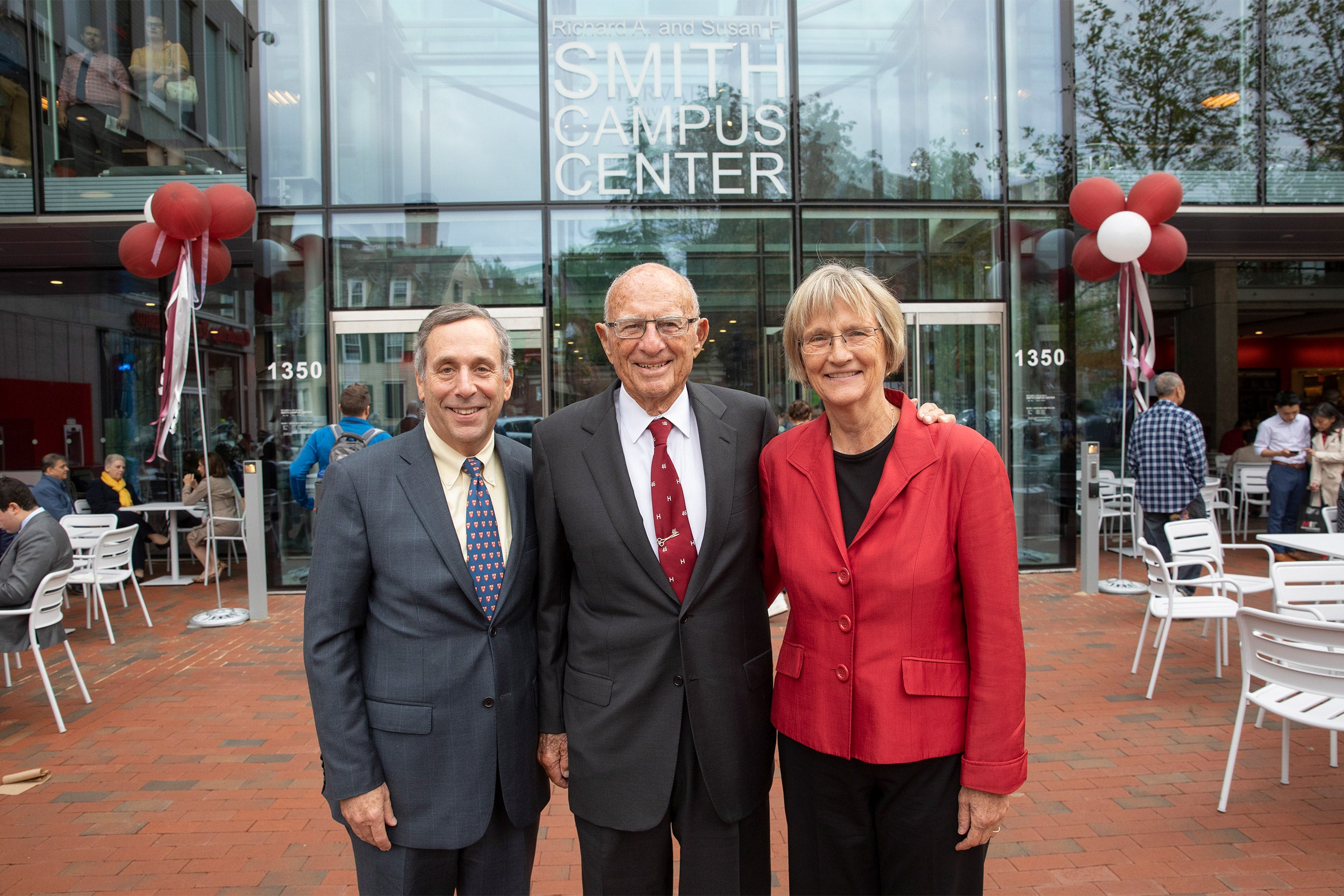 President Larry Bacow, donor Richard A. Smith, and President Emerita Drew Faust.