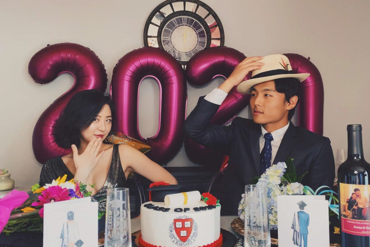 Anna and Myungin Lee celebrating their graduation at home in NY in May 2020.