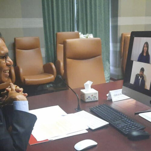 Prime minister Taur Matan Ruak on Zoom.