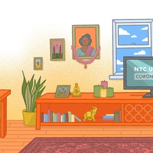 """Scene from """"Quarantine with Kavya"""" cartoon shows coronavirus news update on TV in home."""