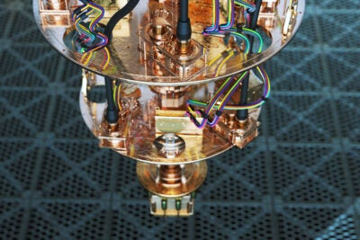 A close-up view of a quantum compute