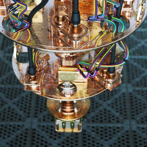 A close-up view of a quantum compute