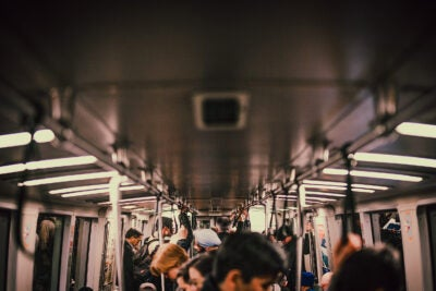 People on a subway.