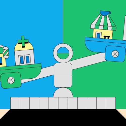 Illustration Balancing business big and small.