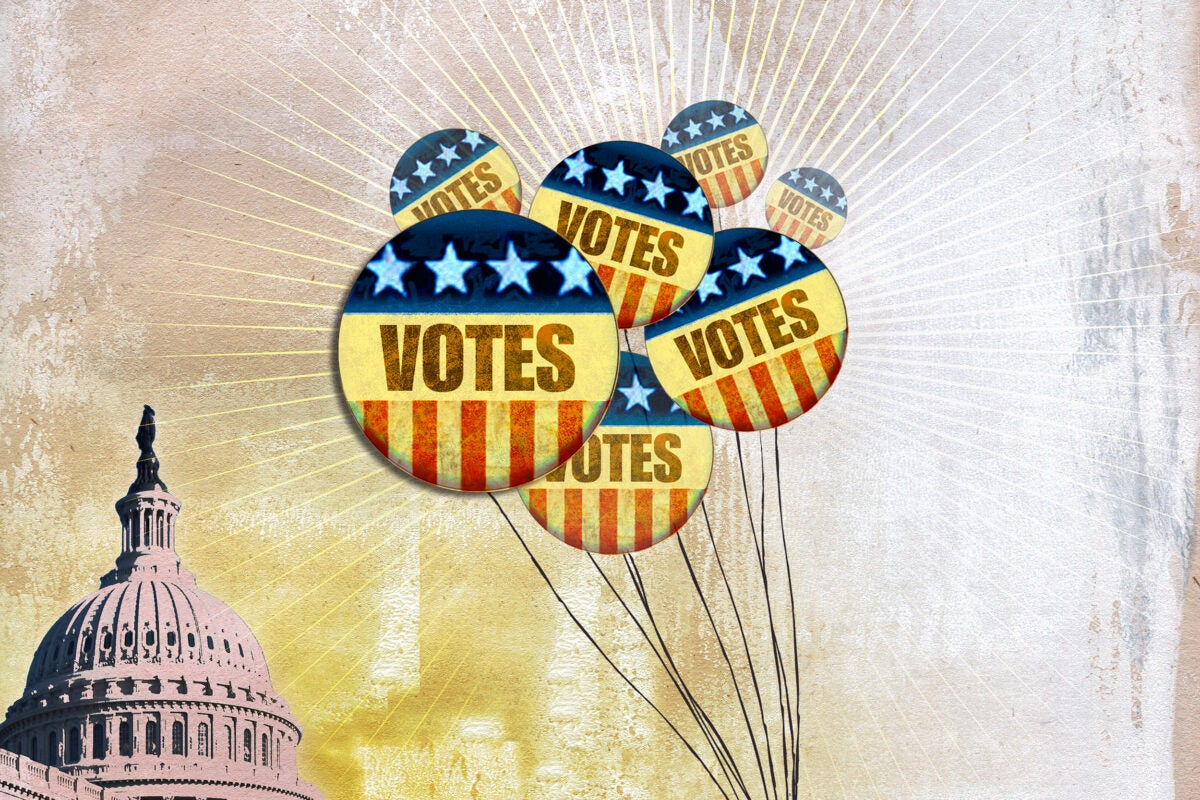 Illustration of balloons that say vote.