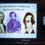 Zoom screen with James W.C. Pennington, Frederick Douglass, and William Wells Brown.