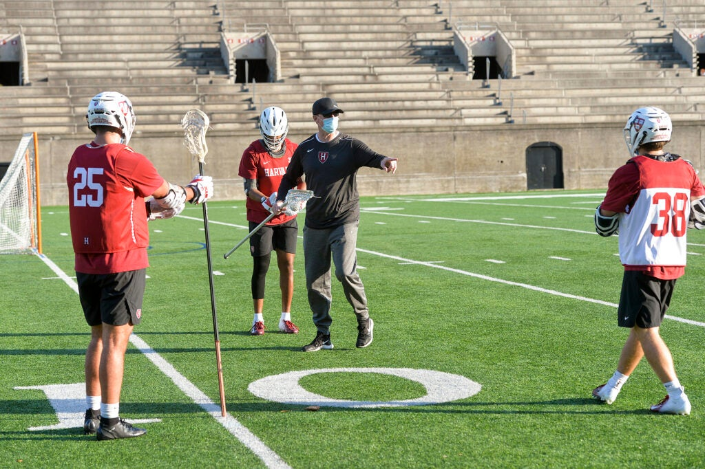 Fall lacrosse practice.