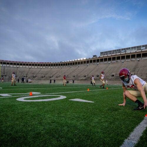 First-year Garrett Sharp on football field.