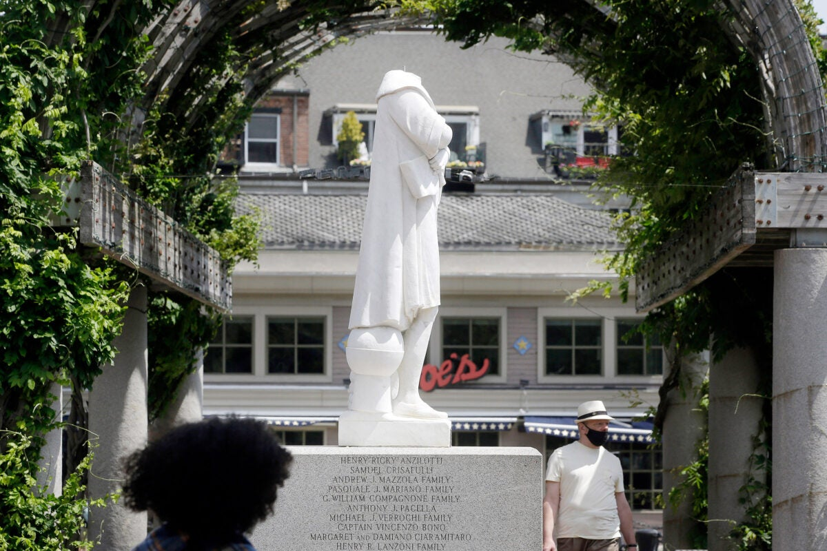 Beheaded Columbus Statue.