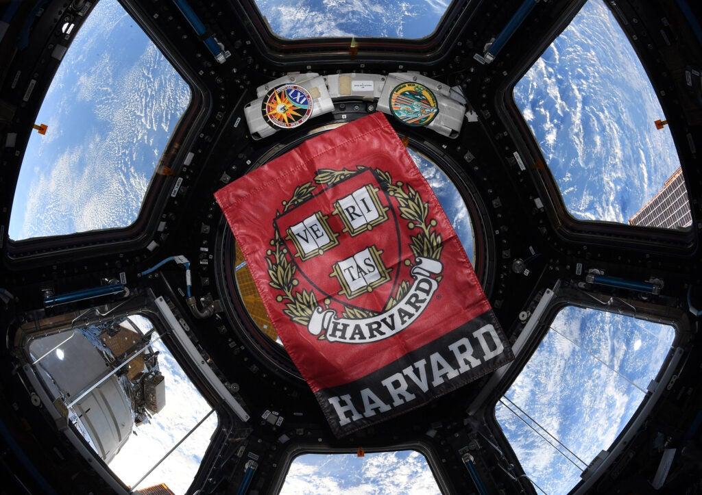 Harvard flag in space.