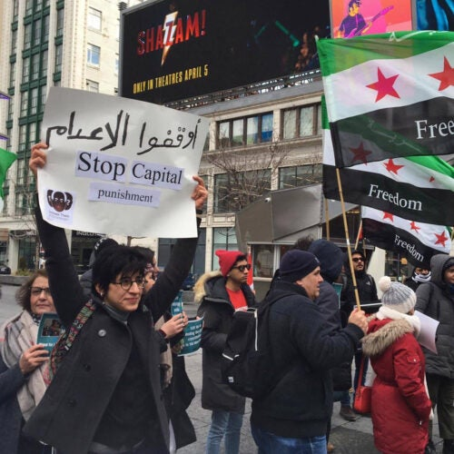 Sarah Hegazi during protests in Canada.