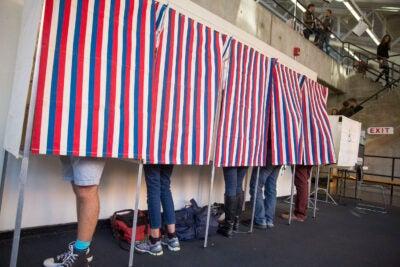 Students voting.