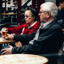 Couple drinking and smoking.
