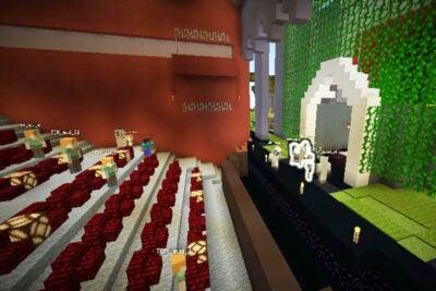 "A screenshot from ""Kaldi: Goats In Minecraft Getting Coffee."""