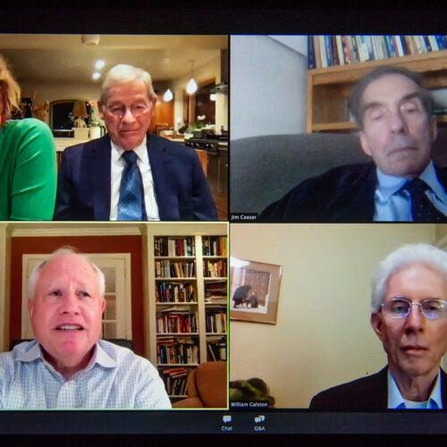 Group of speakers on Zoom.
