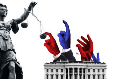 Illustration of presidents tipping scales of justice.