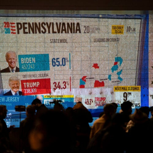 Election Day results showing up on big screen.