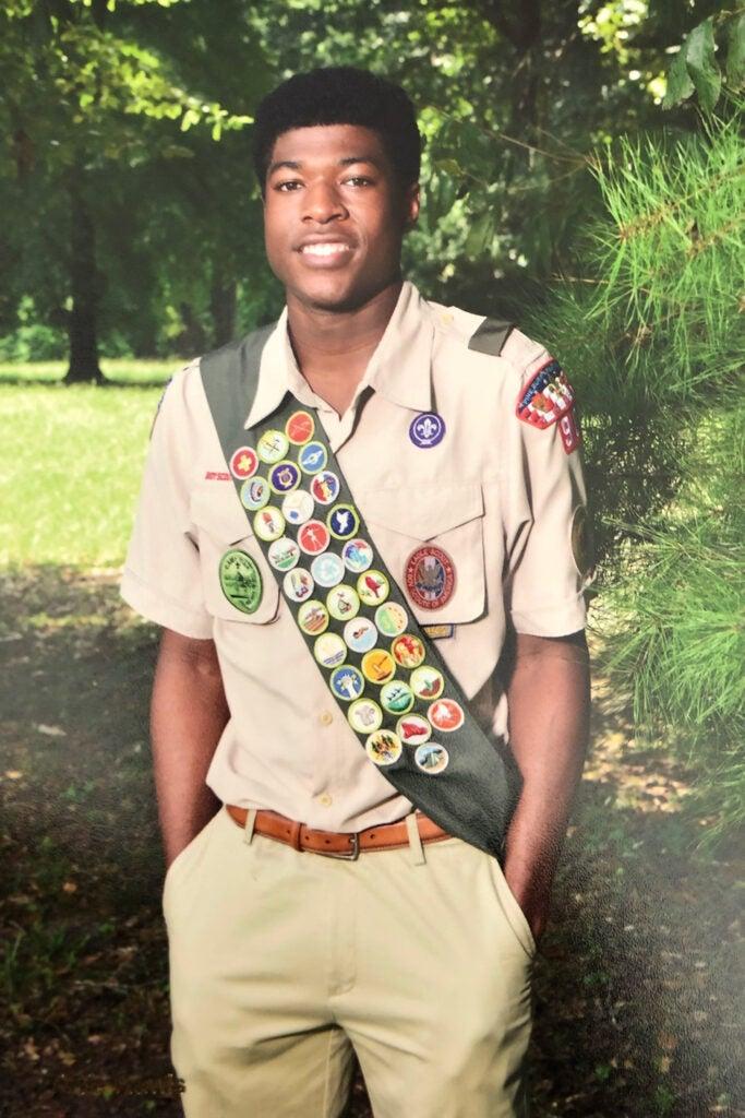 Noah Harris in Scout uniform.
