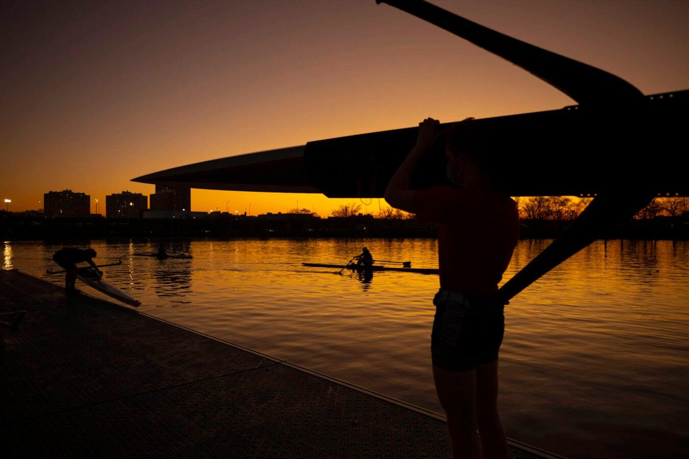 Students return boats.