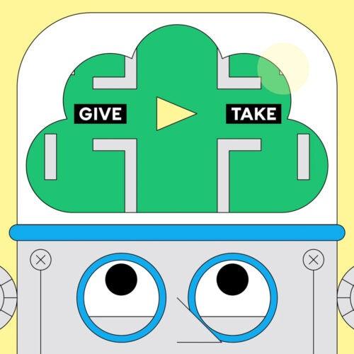 Illustration of robot making decisions.