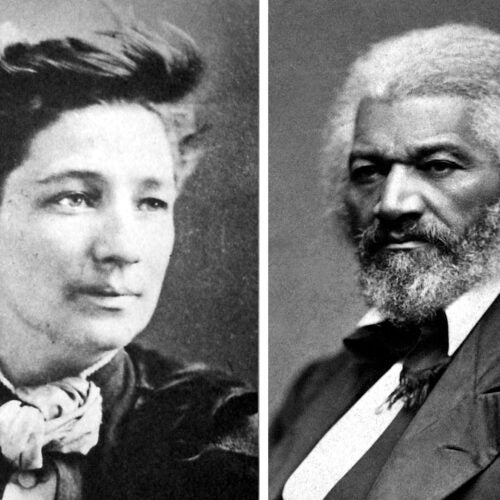 Victoria Woodhull and Frederick Douglass.