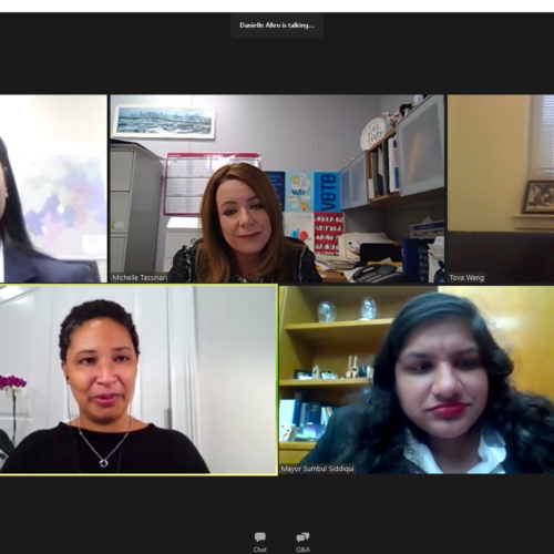 Group of women on Zoom screen.