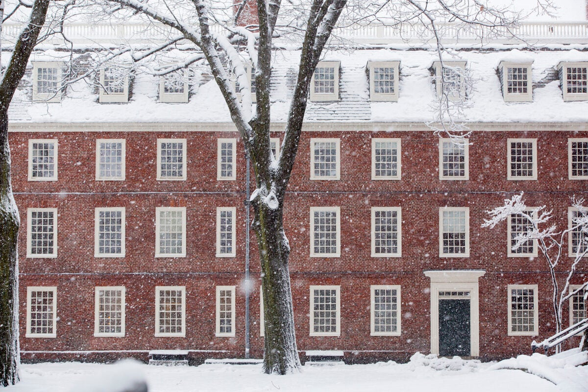 Mass hall in the snow.