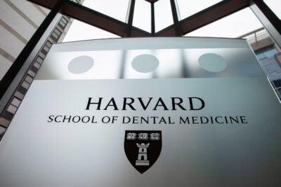 Harvard School of Dental Medicine sign.