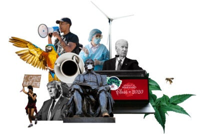 Collage of major themes from 2020 Gazette coverage, including COVID, protests, and election.