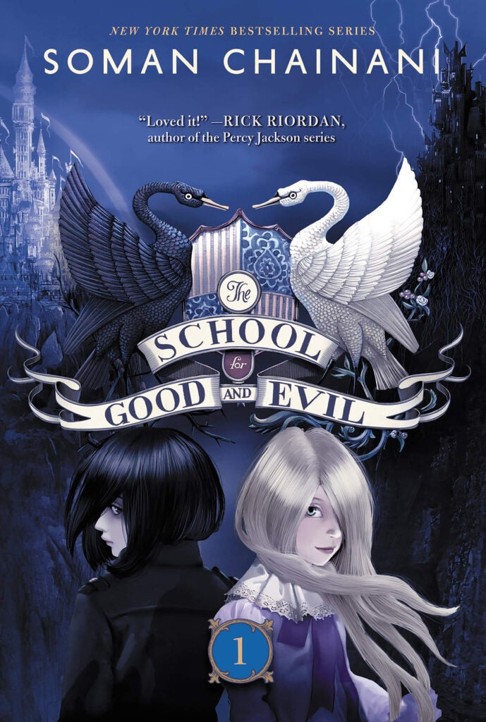 "Book cover: ""The School for Good and Evil"" series by Soman Chainani."